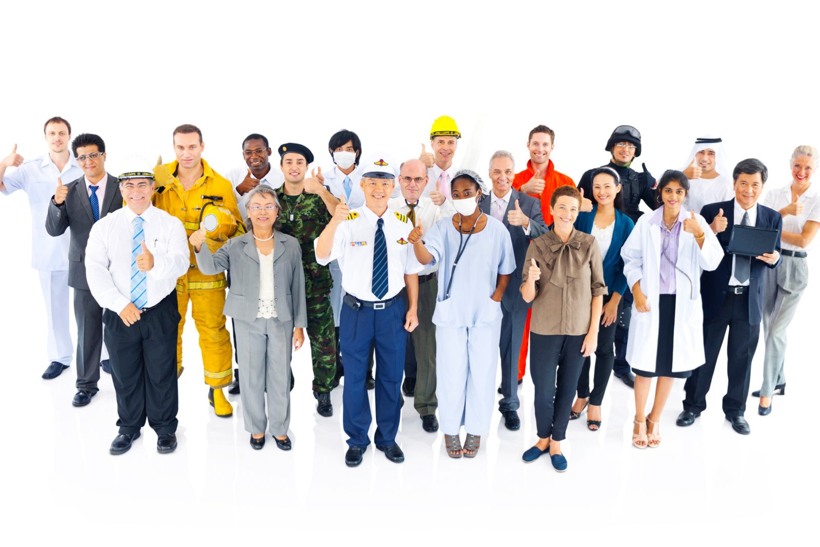 About - Group Of Smiling People From Various Professions Making Thumbs Up Gesture