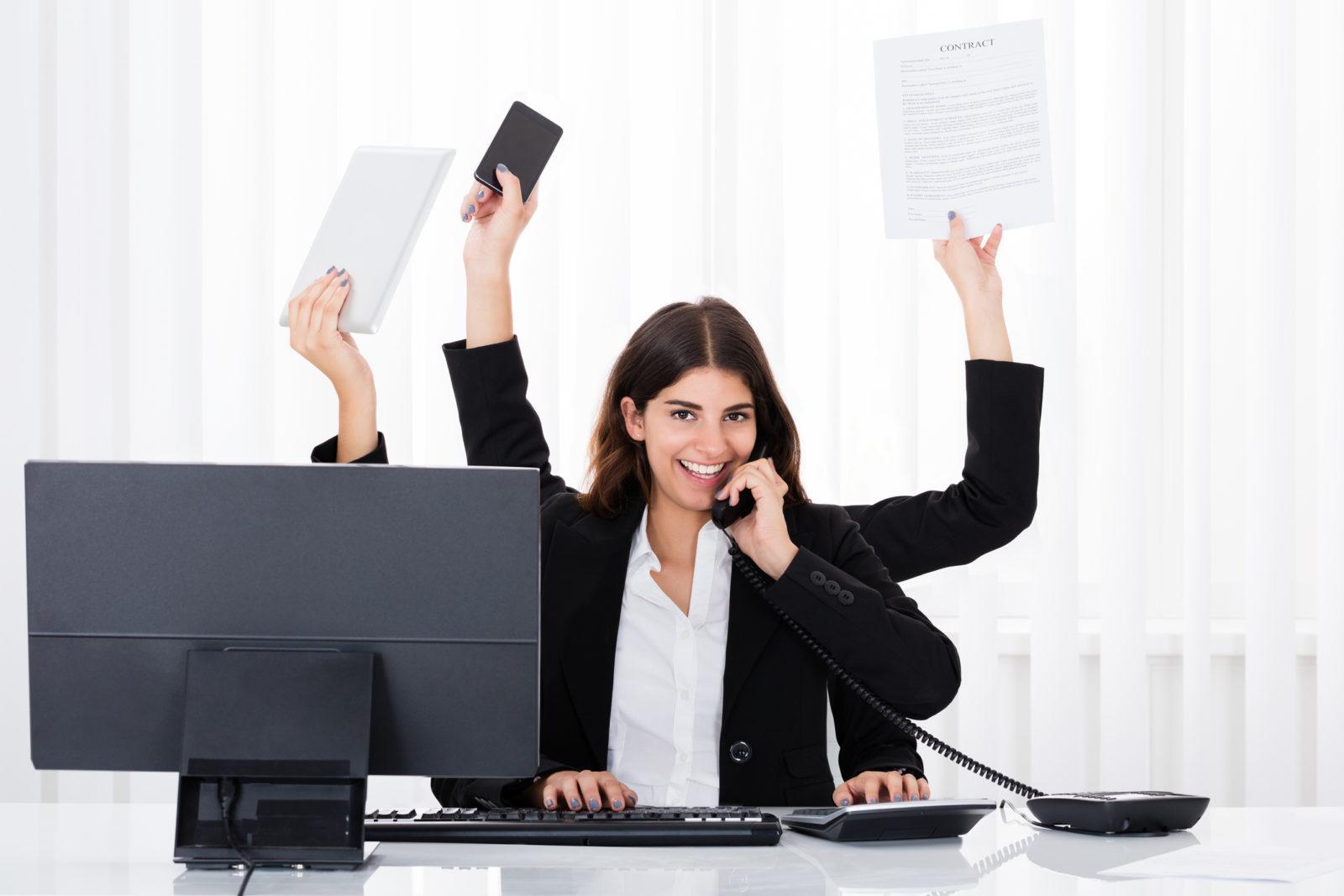 Busy Businesswoman Multitasking